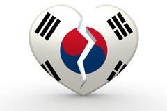 Broken white heart shape with South Korea flag Stock Illustration