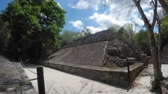 Ancient ball court at Mayan ruin at Coba near Cancun Stock Footage