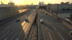 MOSCOW, RUSSIA - Traffic and skyscrapers 'Moscow city' 4K  Stock Footage