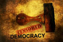 Censored democracy grunge concept Stock Photos