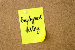 Employment History written on yellow paper note Stock Photos