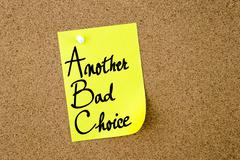 ABC Another Bad Choice written on yellow paper note Stock Photos