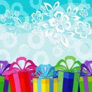 Holiday Background with Gift Boxes Stock Illustration