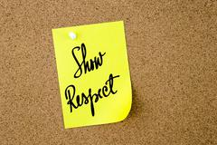 Show Respect written on yellow paper note Stock Photos