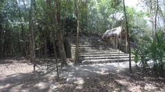 Stone stairs at Mayan ruin in Coba near Cancun in jungle Stock Footage