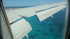 Approach and landing at St Maarten airport. Passenger view. Stock Footage