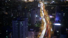 Night timelapse of highway in downtown Shanghai. Stock Footage