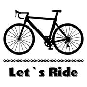 Minimalistic bike poster Let's Ride. Black road racing bicycle with a chain Stock Illustration