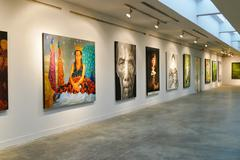 Painting showing at Chiang Mai university art center - stock photo