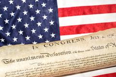 American Declaration of independence 4th july 1776 on usa flag background Stock Photos