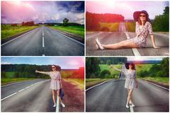 Set. young girl hitchhiking travels Stock Photos