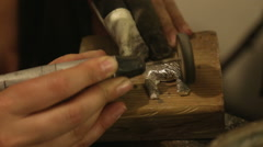 Brass grinding at jewelry workshop Stock Footage