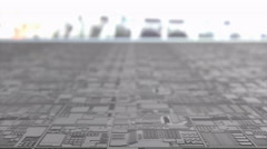 Artist concept rendering close up silicon chip production. Stock Footage