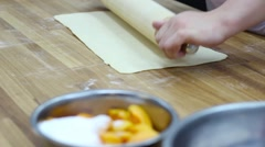 Unrolling  dough for making cake - stock footage