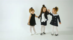 Cute Adorable Children Having Fun Together Isolated On White Background Stock Footage