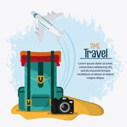 Trip icon set. Time to travel design. Vector graphic - stock illustration