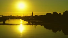 View to neighbor city Ludwigshafen at the end of the day Stock Footage
