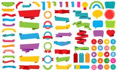 Ribbon Labels Stickers Banners Vector - stock illustration
