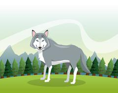 Wolf icon. Landscape background. Vector graphic - stock illustration