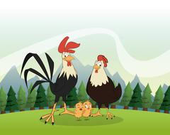 Chicken and rooster icon. Landscape background. Vector graphic Stock Illustration