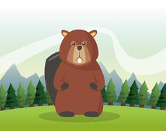 Beaver icon. Landscape background. Vector graphic Stock Illustration