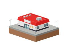 Building of City. Isometric design. Vector graphic Stock Illustration