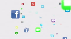 Social Media Icons Floating Version 1 Stock Footage