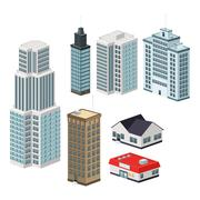 Building of City. Isometric design. Vector graphic - stock illustration
