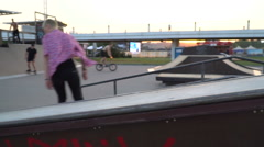 Action on the ramps in the evening - stock footage
