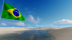 Brazilian flag, waving against unique sand dunes and water lagoons 4K Stock Footage