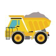 dump truck icon. Under construction concept. Vector graphic - stock illustration