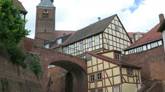Typical half-timbered houses of Tangermuende (Saxony-Anhalt, Germany) Stock Footage