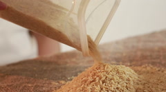 Rice cereal spilling into the bag Stock Footage