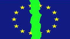 European union flag breaking animation, transition - stock footage