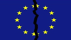 European union flag breaking animation, post Brexit EU break up concept Stock Footage