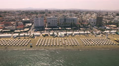 Aerial view of beach in Larnaca Stock Footage
