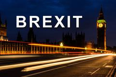 brexit or british exit with Light trail in the night at Big Ben Clock Tower,  - stock photo