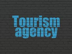 Tourism concept: Tourism Agency on wall background - stock illustration