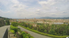 Beautiful European city on river banks, tourism, sunny day, cloudscape timelapse Stock Footage