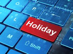 Travel concept: Holiday on computer keyboard background - stock illustration