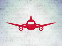 Tourism concept: Aircraft on Digital Data Paper background - stock illustration
