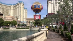 Pass along the lake of  Bellagio fountains. FPV. Las Vegas, Nevada, USA Stock Footage