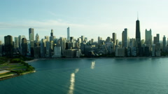 Aerial distant view of Lake Michigan and Chicago skyscrapers Stock Footage