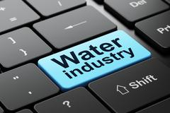 Manufacuring concept: Water Industry on computer keyboard background - stock illustration