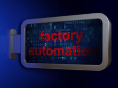 Manufacuring concept: Factory Automation on billboard background Piirros