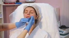 Cosmetic injection in the spa salon Stock Footage