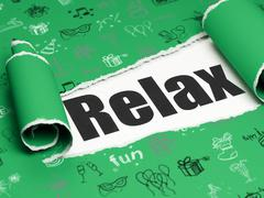 Holiday concept: black text Relax under the piece of  torn paper - stock illustration