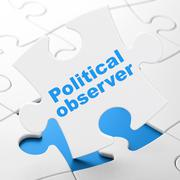 Political concept: Political Observer on puzzle background - stock illustration
