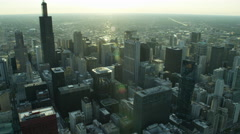 Aerial view of Chicago Sears Tower and suburban areas Stock Footage