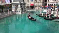 Outdoor Gondola Ride at St. Mark's Square (The Venetian Resort Hotel Casino) Stock Footage